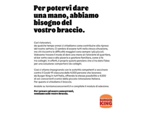 Burger King chiede… 'il braccio' ai piccoli ristoratori